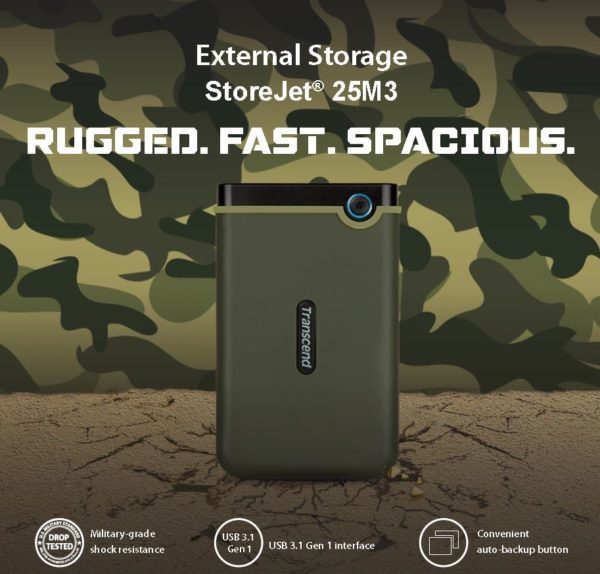 TRANSCEND STOREJET 2.5 INCH 1TB USB 3.1 RUGGED EXTERNAL HARD DISK DRIVE MILITARY GREEN SLIM TS1TSJ25M3G